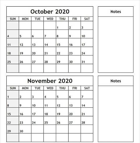 October November 2020 Calendar Template