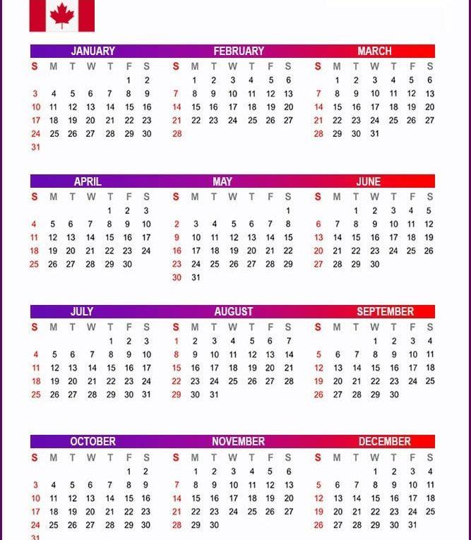 Canada 2021 Printable Calendar