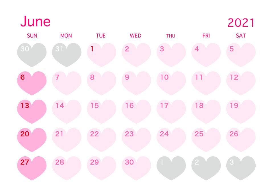 cute june 2021 pink heart calendar